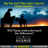 big text and t rex didnt ride the range together